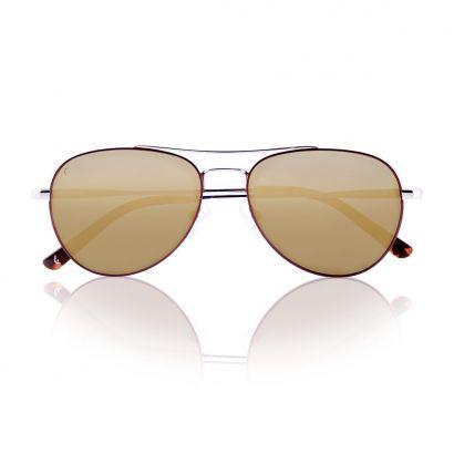 VOYAGER marrone/argento con lenti oro specchiate polarizzate