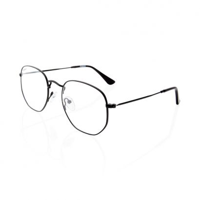 Hexagon prescription glasses black frame